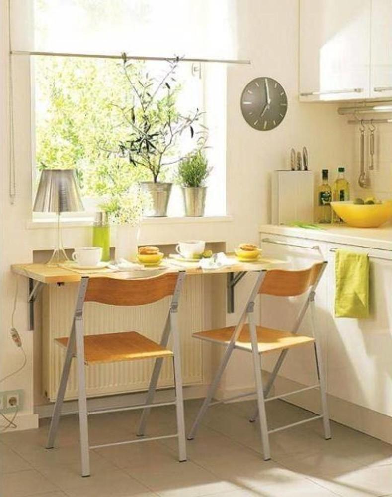 Кухня/столовая в  цветах:   Белый, Желтый, Коричневый, Светло-серый.  Кухня/столовая в  стиле:   Минимализм.