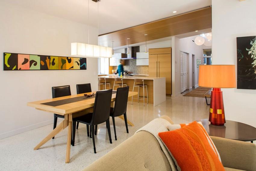 Кухня/столовая в  цветах:   Бежевый, Желтый, Коричневый, Светло-серый.  Кухня/столовая в  стиле:   Минимализм.