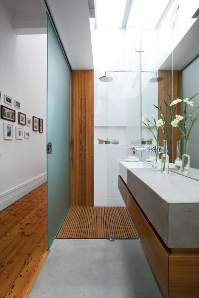 Ванная в  цветах:   Белый, Коричневый, Светло-серый, Серый.  Ванная в  стиле:   Минимализм.