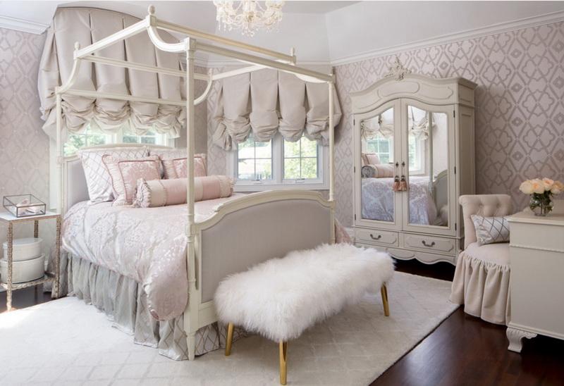 Спальня в  цветах:   Бежевый, Белый, Светло-серый, Серый.  Спальня в  .