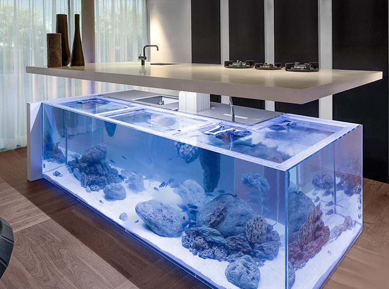 Кухня/столовая в  цветах:   Голубой, Коричневый, Светло-серый, Серый.  Кухня/столовая в  стиле:   Минимализм.