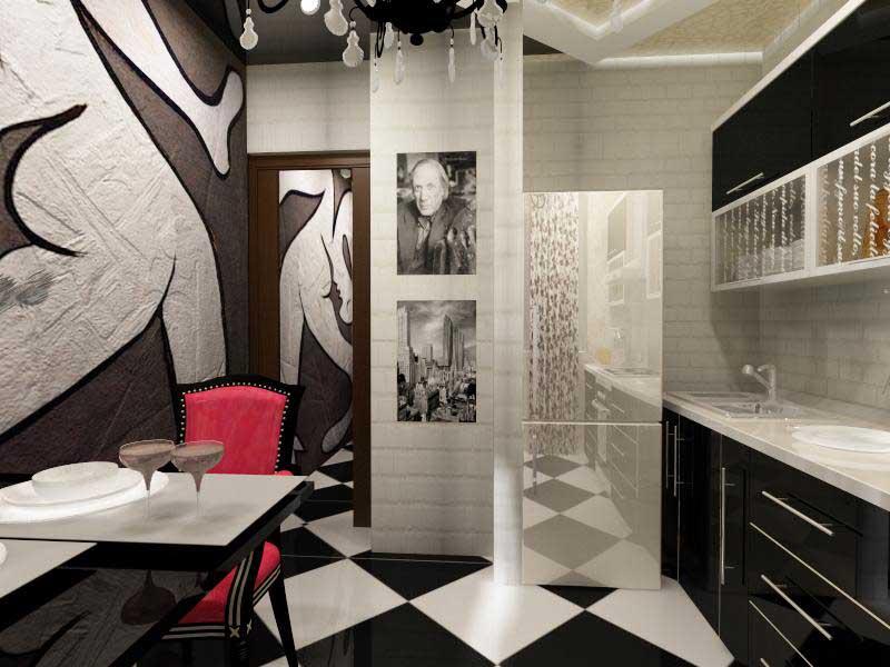 Кухня/столовая в  цветах:   Белый, Светло-серый, Серый, Черный.  Кухня/столовая в  стиле:   Эклектика.