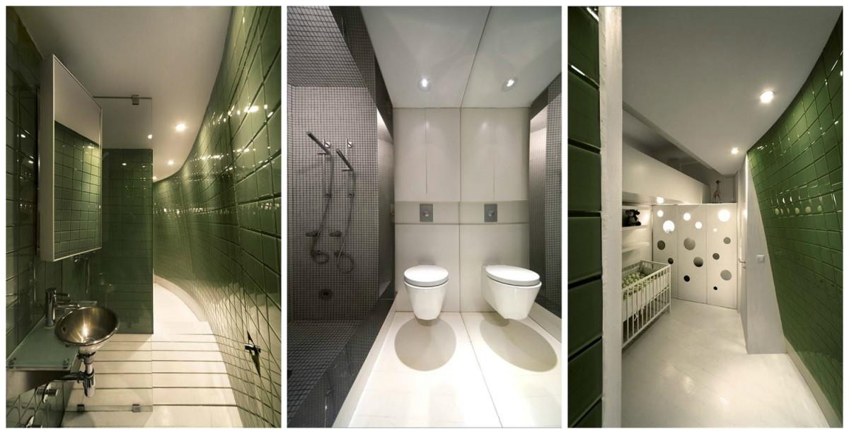 Туалет в цветах: черный, белый, темно-зеленый. Туалет в стилях: минимализм.