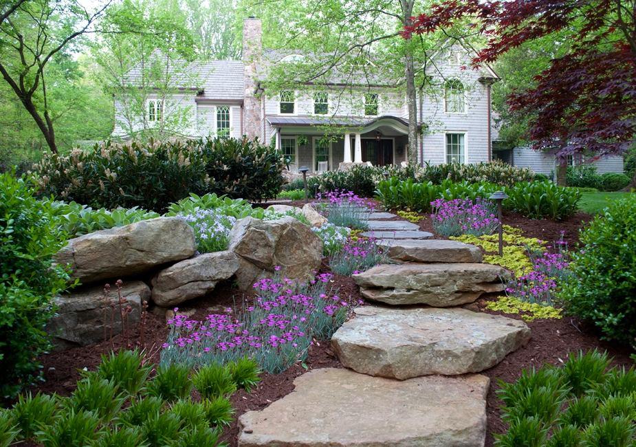 Ландшафт в цветах: серый, светло-серый, темно-зеленый, салатовый. Ландшафт в стилях: экологический стиль.