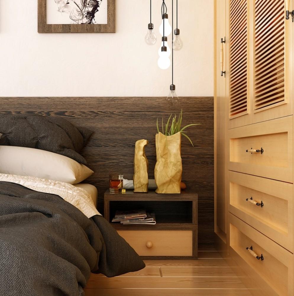 Спальня в цветах: белый, темно-коричневый, коричневый, бежевый. Спальня в стиле экологический стиль.