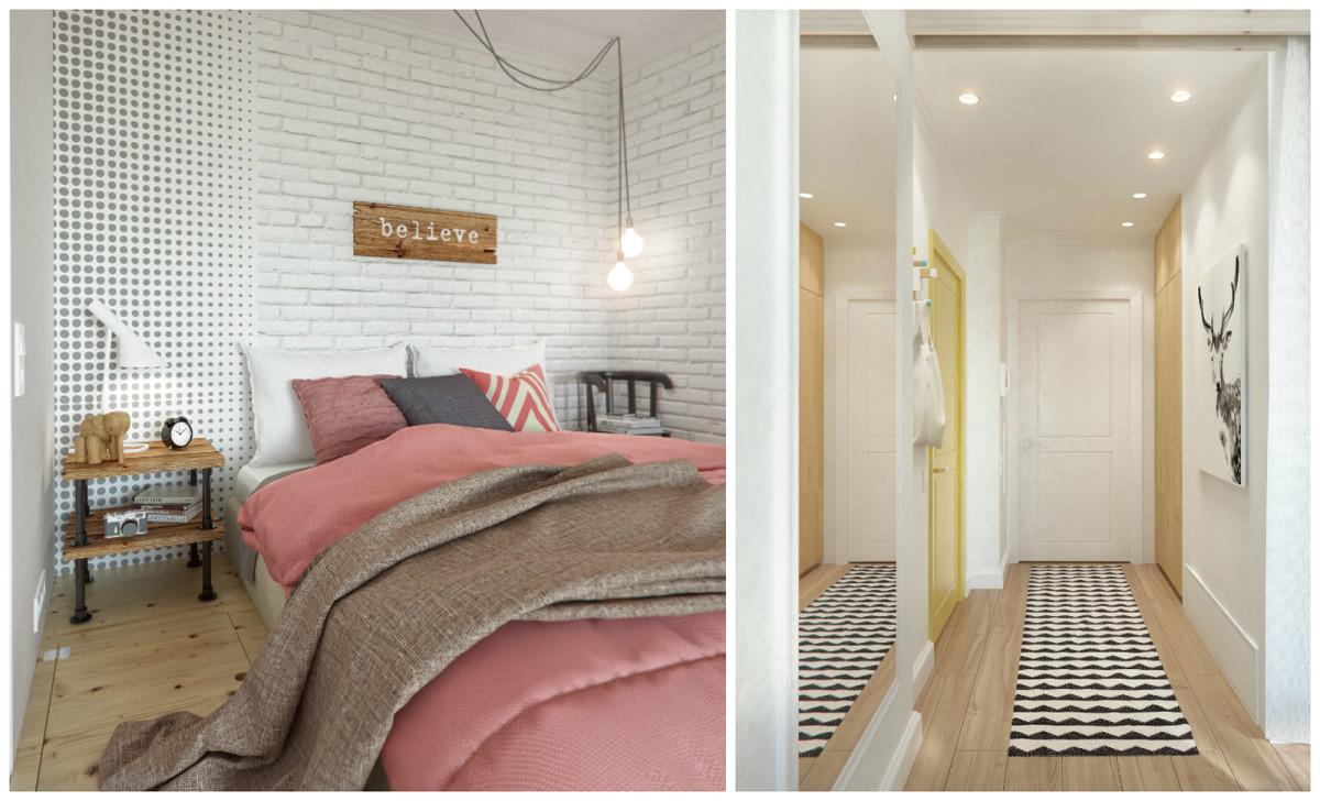 Гостиная, холл в цветах: белый, розовый, бежевый. Гостиная, холл в стиле скандинавский стиль.