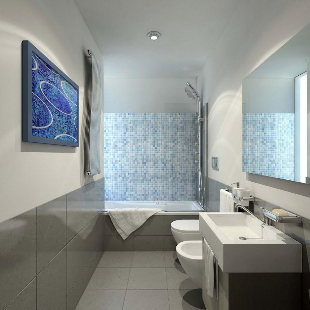 Туалет в цветах: голубой, серый, светло-серый, белый. Туалет в стиле минимализм.