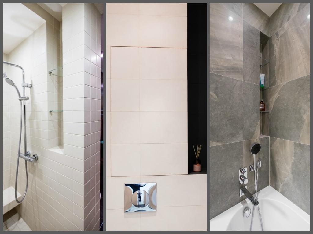 Туалет в цветах: черный, серый, светло-серый, белый, бежевый. Туалет в стиле хай-тек.