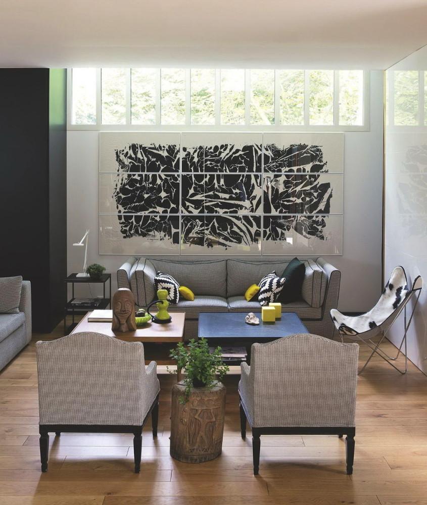 Гостиная, холл в цветах: черный, серый, светло-серый, белый, темно-зеленый. Гостиная, холл в стилях: французские стили, лофт.