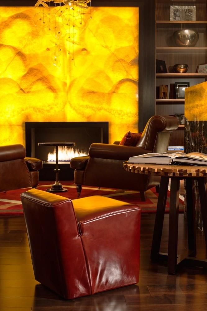 Гостиная, холл в цветах: желтый, черный, темно-коричневый, коричневый, бежевый. Гостиная, холл в стиле арт-деко.