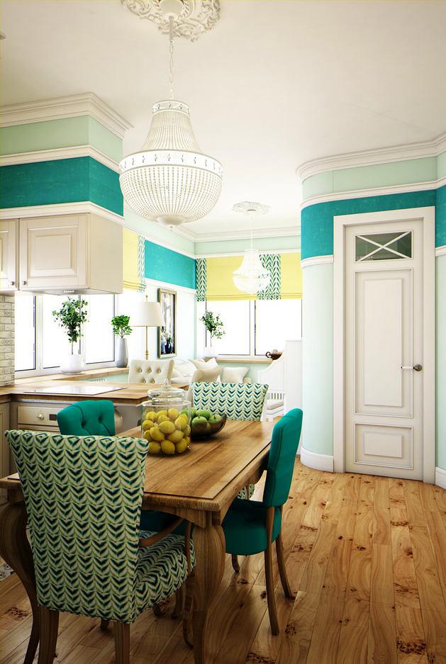 Кухня в цветах: бирюзовый, светло-серый, белый. Кухня в стиле эклектика.