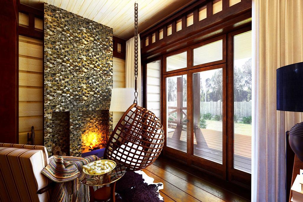 Балкон, веранда, патио в цветах: светло-серый, белый, темно-коричневый, коричневый, бежевый. Балкон, веранда, патио в стиле экологический стиль.