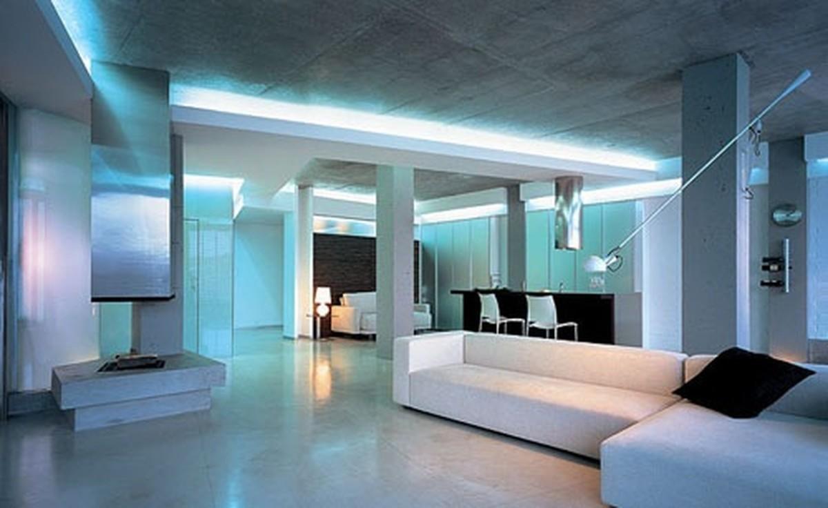 Гостиная, холл в цветах: голубой, бирюзовый, серый, светло-серый. Гостиная, холл в стиле хай-тек.