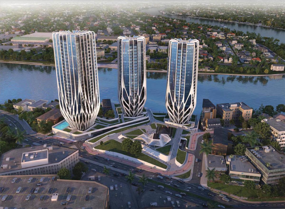 Архитектура в цветах: голубой, серый, светло-серый. Архитектура в стиле хай-тек.