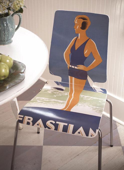 Мебель и предметы интерьера в цветах: оранжевый, фиолетовый, серый, белый, коричневый. Мебель и предметы интерьера в стиле поп-арт.