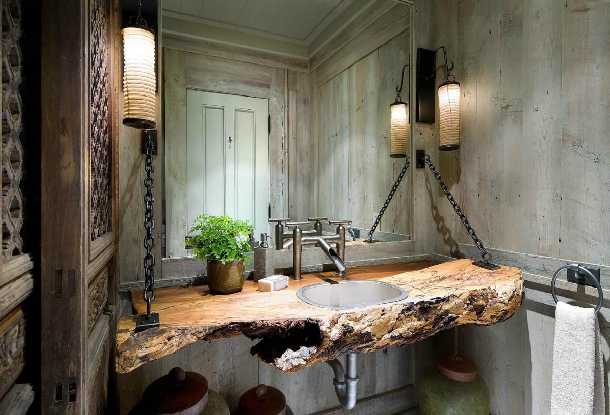 Туалет в цветах: темно-коричневый, коричневый, бежевый. Туалет в стилях: кантри.