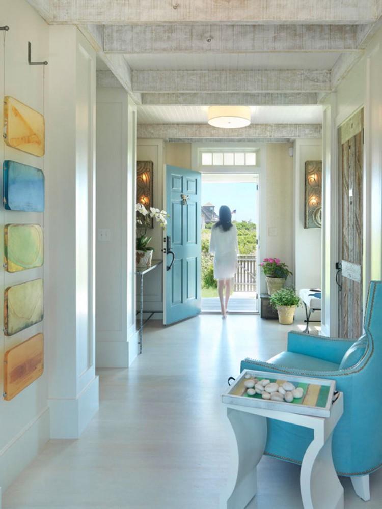 Гостиная, холл в цветах: бирюзовый, серый, светло-серый, белый. Гостиная, холл в стилях: американский стиль, экологический стиль.