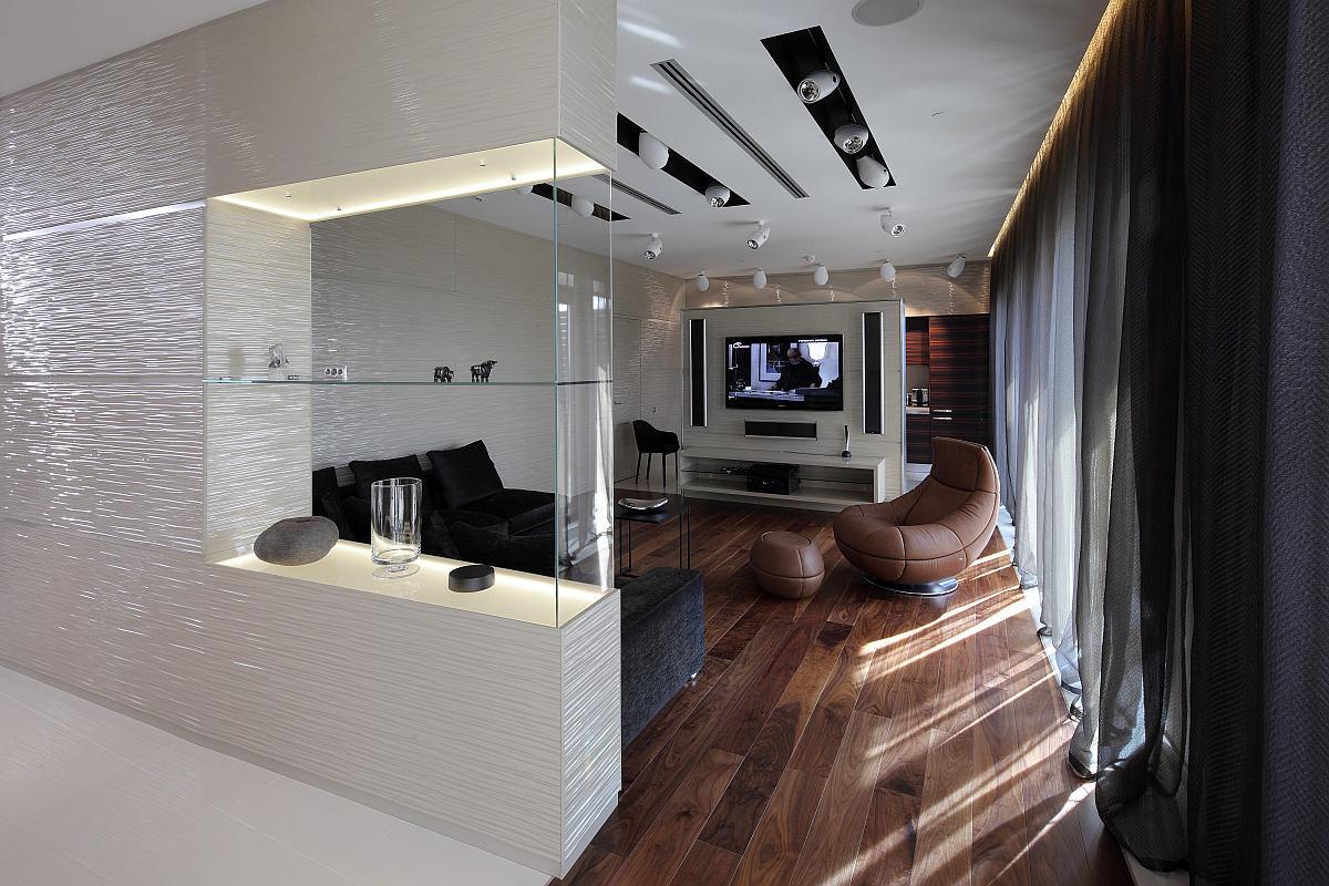 Гостиная, холл в цветах: черный, серый, светло-серый, темно-коричневый, коричневый. Гостиная, холл в стиле минимализм.