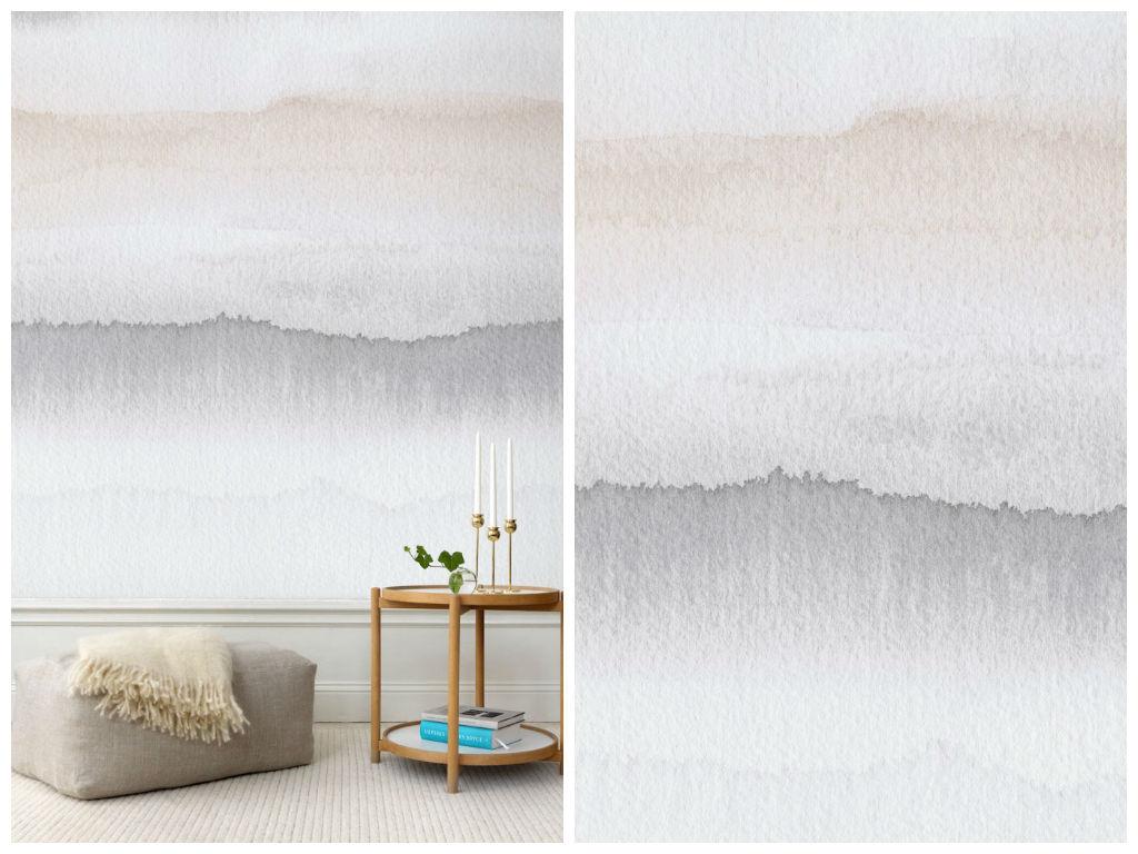 Декор в цветах: серый, светло-серый, бежевый. Декор в стиле минимализм.