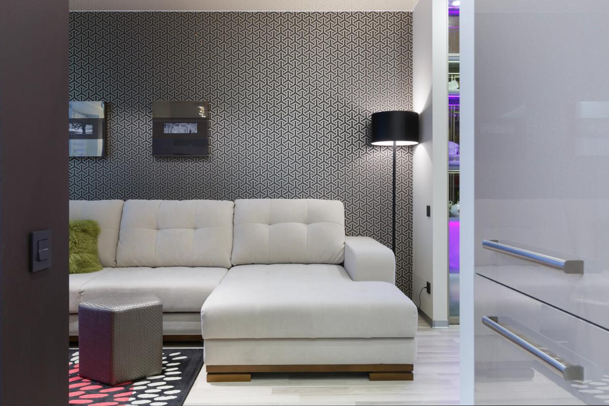 Гостиная, холл в цветах: серый, светло-серый, белый. Гостиная, холл в стилях: хай-тек, скандинавский стиль.