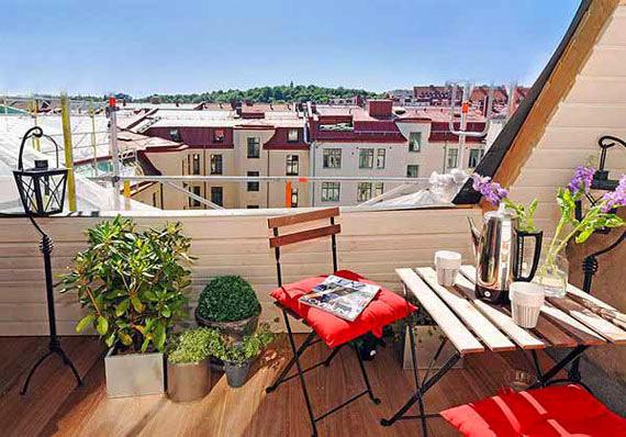 Балкон, веранда, патио в цветах: голубой, серый, светло-серый, коричневый, бежевый. Балкон, веранда, патио в стиле скандинавский стиль.