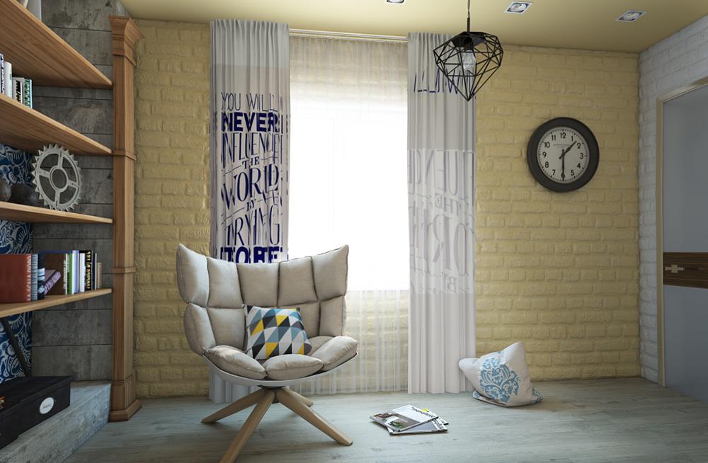 Мебель и предметы интерьера в цветах: серый, светло-серый, белый, лимонный, коричневый. Мебель и предметы интерьера в стиле эклектика.