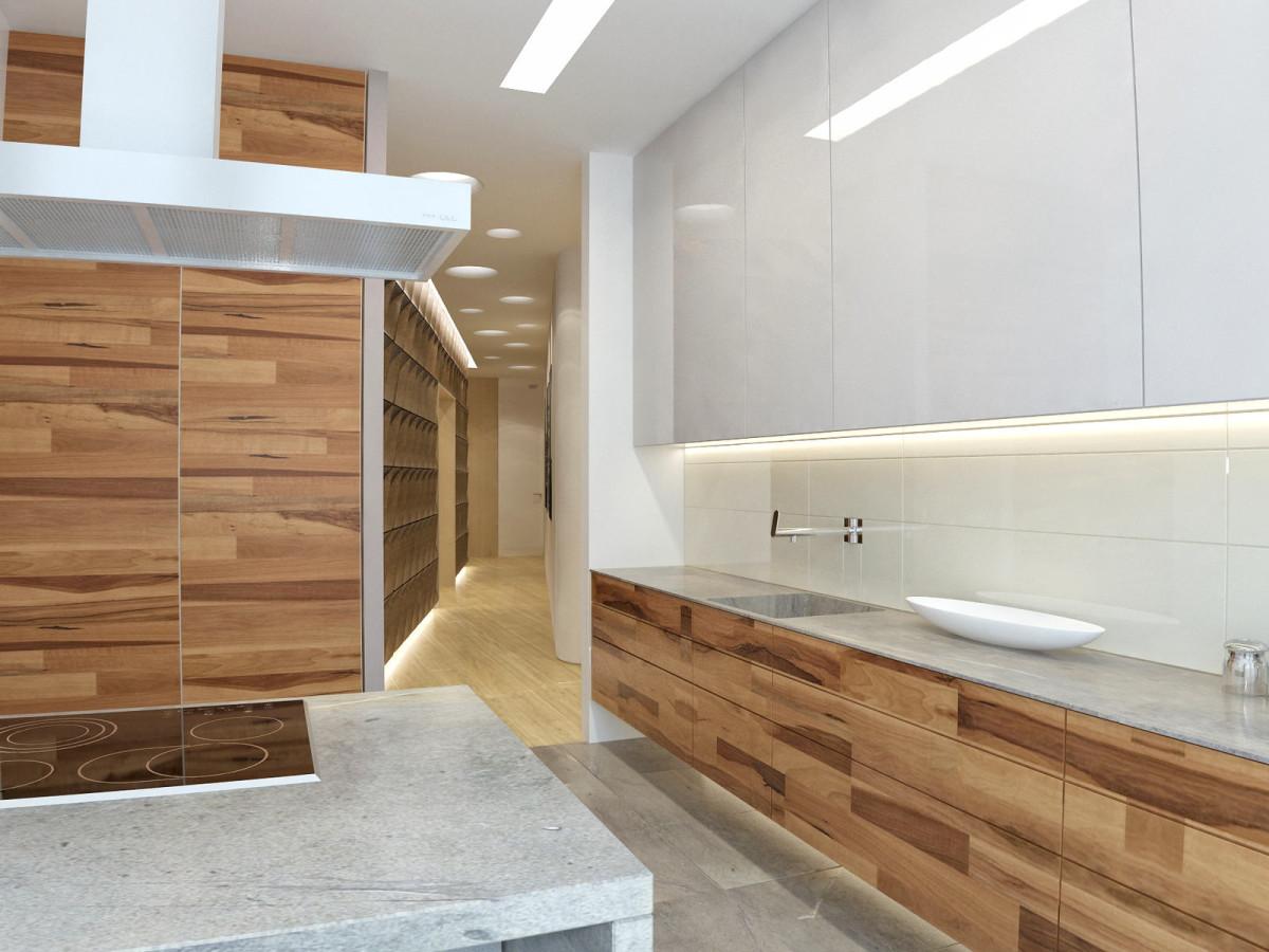 Кухня в цветах: серый, светло-серый, белый, коричневый, бежевый. Кухня в стилях: минимализм, экологический стиль.