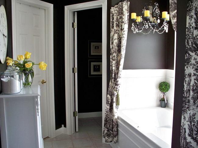 Туалет в цветах: черный, серый, светло-серый, белый. Туалет в стиле арт-деко.