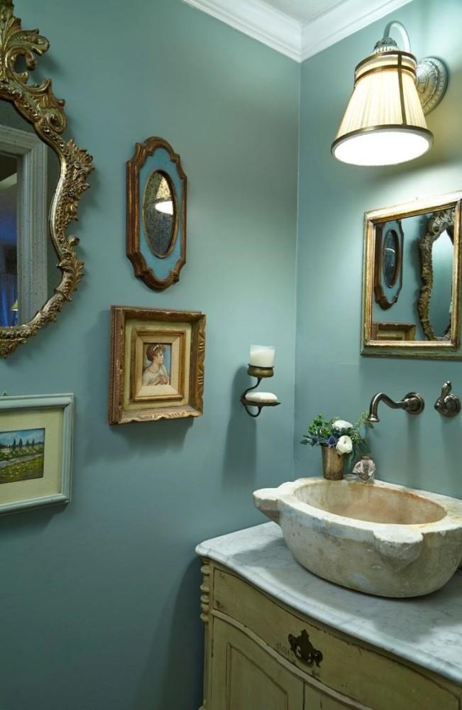Ванная в цветах: бирюзовый, серый, темно-зеленый, сине-зеленый. Ванная в стиле арт-деко.