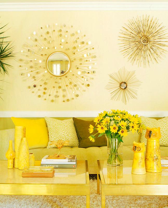 Гостиная, холл в цветах: желтый, светло-серый, белый, лимонный, салатовый. Гостиная, холл в стиле эклектика.