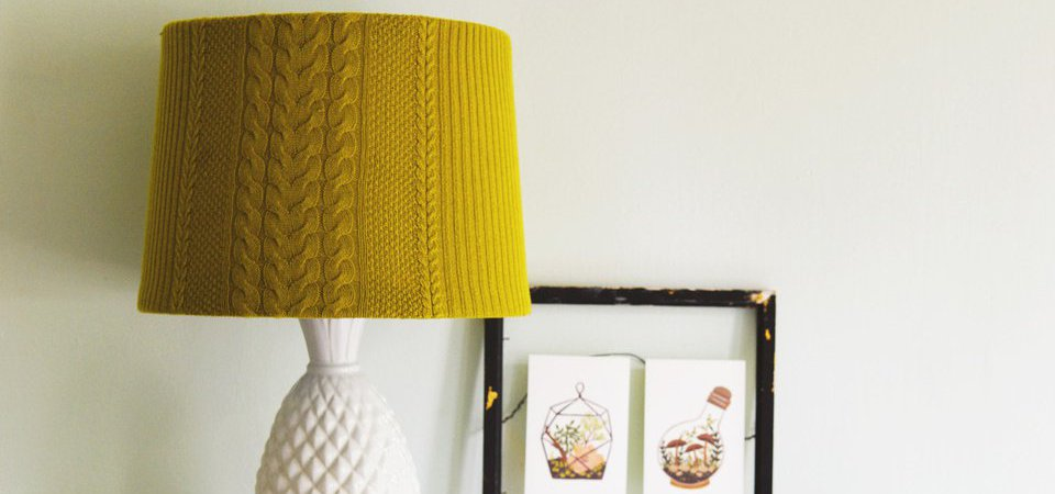 Осенний декор: вязаный абажур для лампы. Мастер-класс