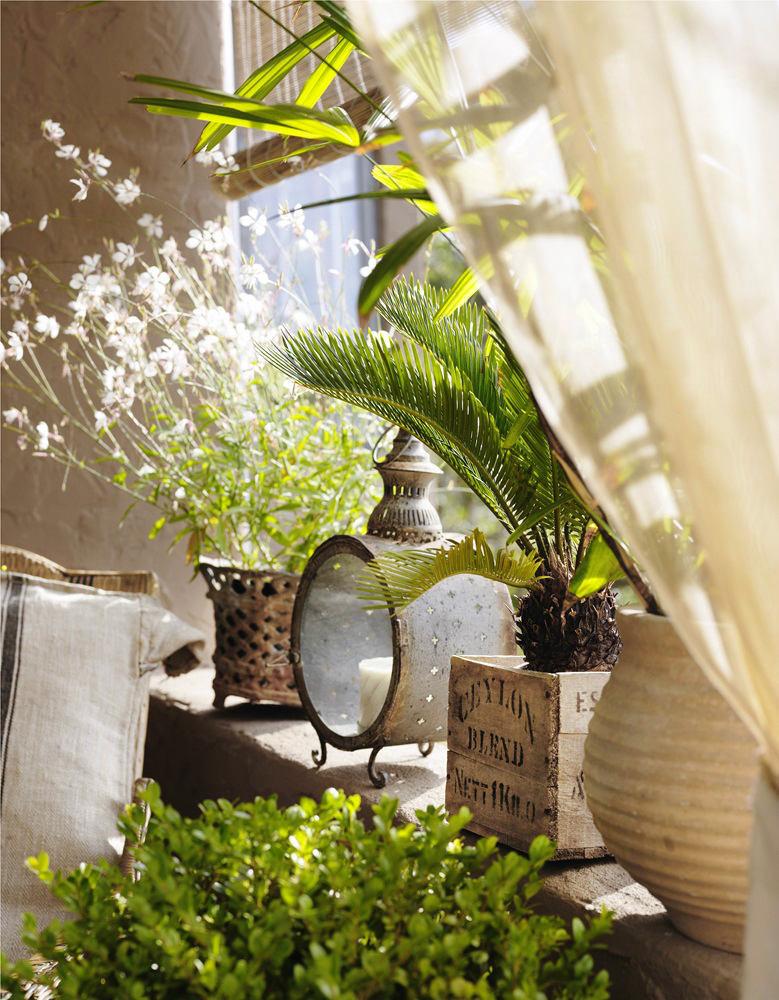 Балкон, веранда, патио в цветах: серый, светло-серый, белый, коричневый, бежевый. Балкон, веранда, патио в стилях: прованс.