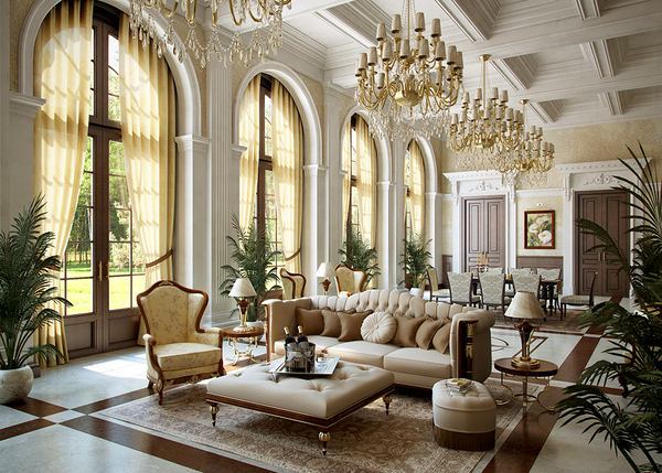 Гостиная, холл в цветах: черный, серый, светло-серый, бежевый. Гостиная, холл в стиле классика.