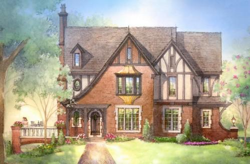 Архитектура в цветах: голубой, серый, светло-серый, темно-зеленый, бежевый. Архитектура в стиле английские стили.