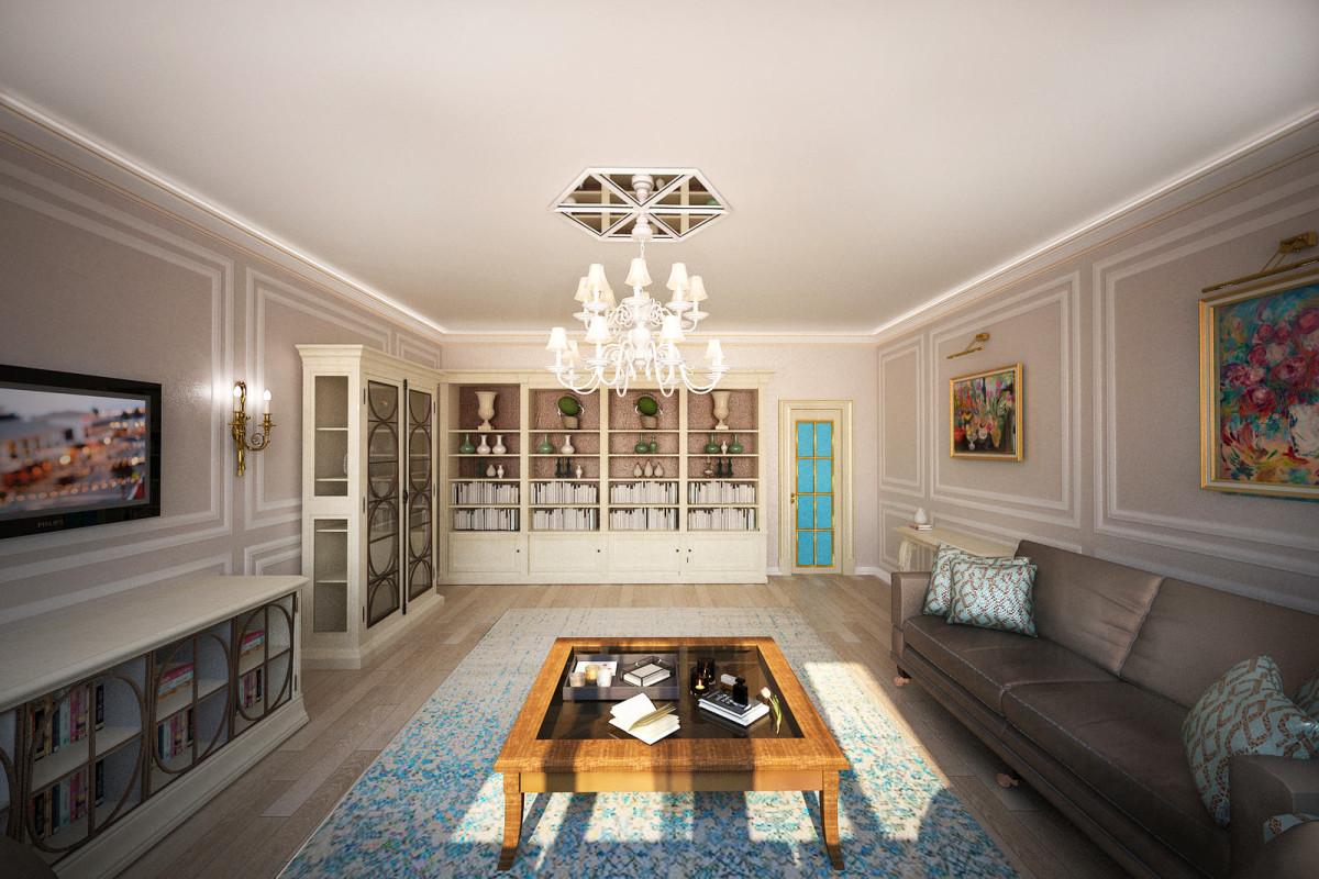Гостиная, холл в цветах: серый, светло-серый, белый, бежевый. Гостиная, холл в стиле неоклассика.