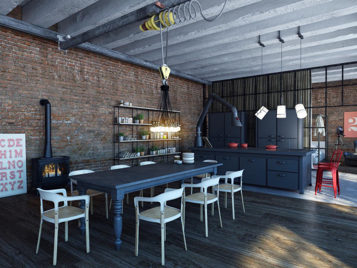 Кухня в цветах: бирюзовый, фиолетовый, серый, светло-серый. Кухня в стиле лофт.