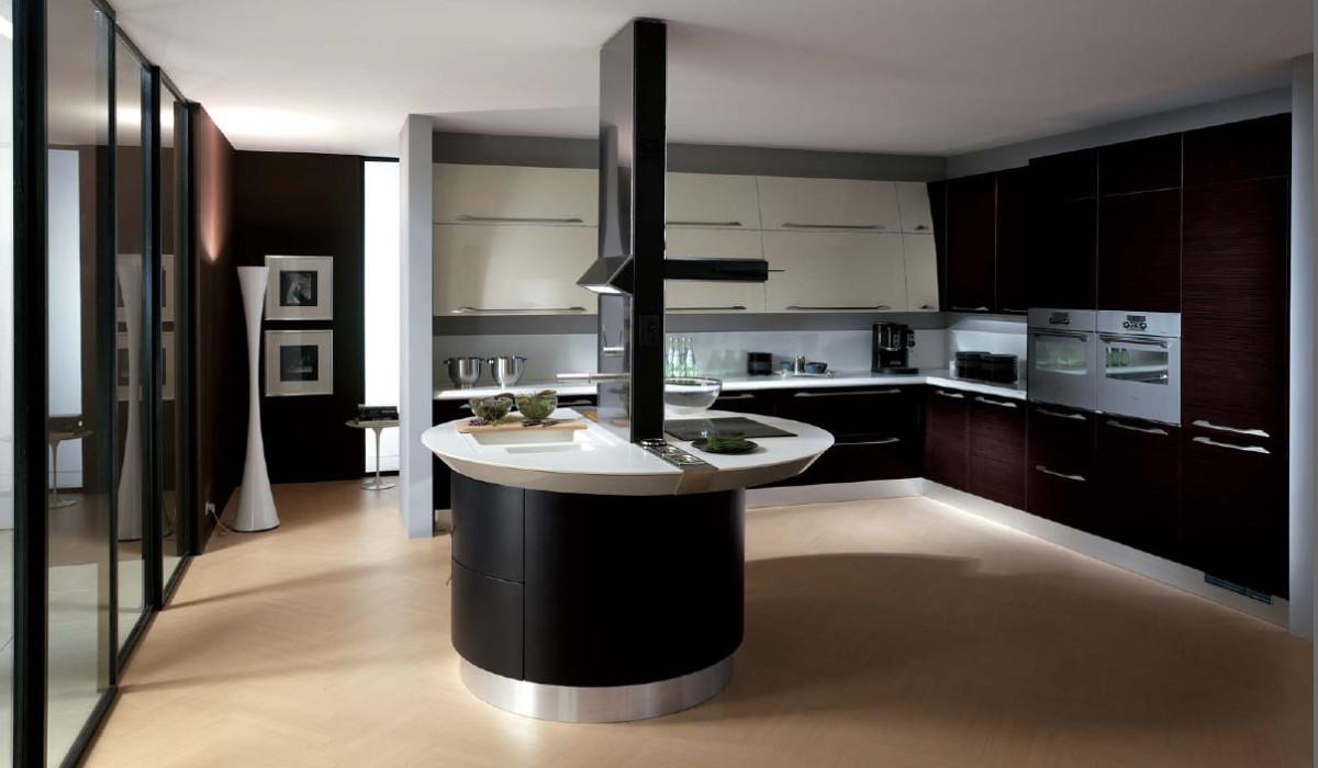 Кухня в цветах: черный, серый, белый, бежевый. Кухня в стиле хай-тек.