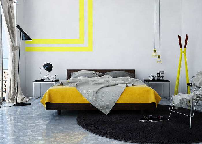 Спальня в цветах: черный, серый, светло-серый, лимонный. Спальня в стиле лофт.