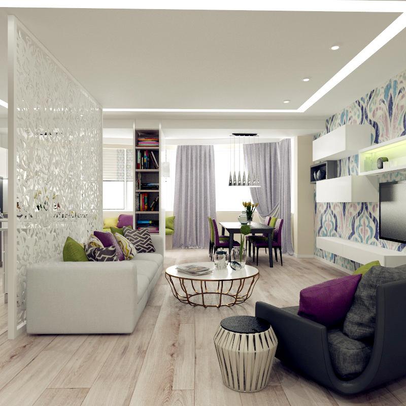 Гостиная, холл в цветах: черный, светло-серый, белый, сиреневый, бежевый. Гостиная, холл в стиле минимализм.