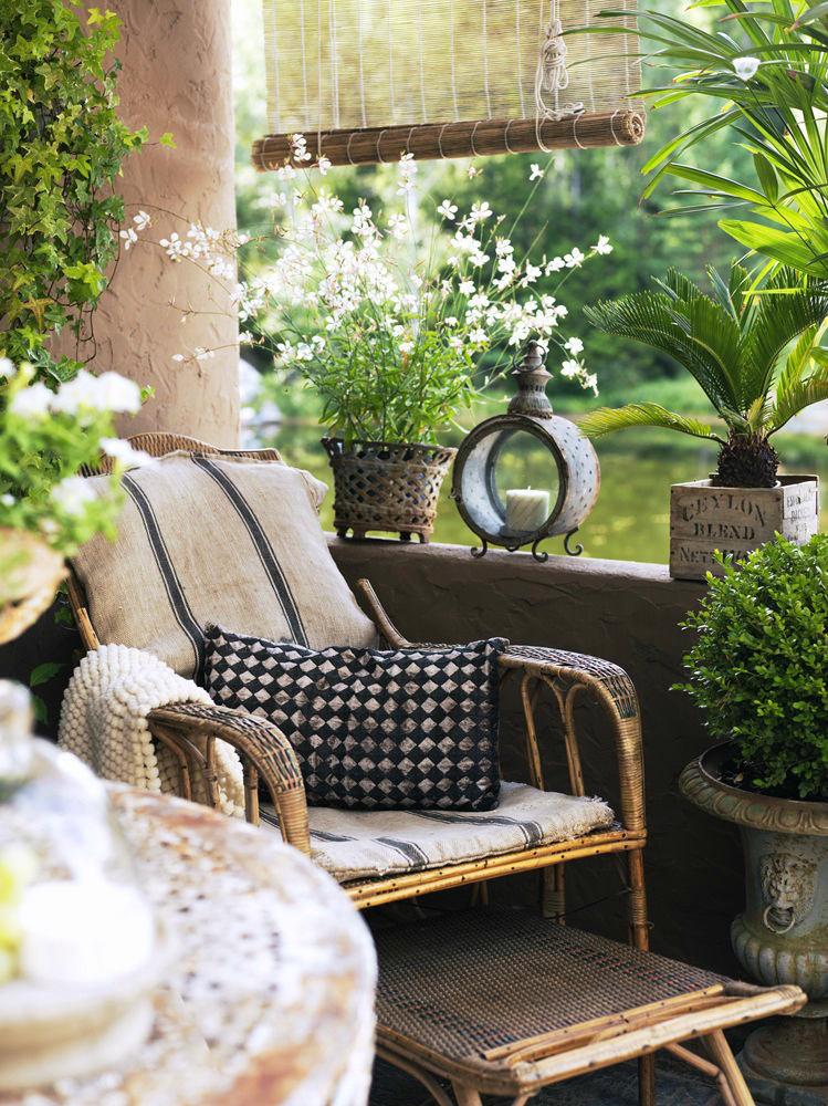 Балкон, веранда, патио в цветах: черный, серый, светло-серый, темно-зеленый, бежевый. Балкон, веранда, патио в стилях: прованс.