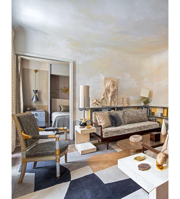 Гостиная, холл в цветах: серый, светло-серый, сине-зеленый, коричневый, бежевый. Гостиная, холл в стилях: классика, французские стили.