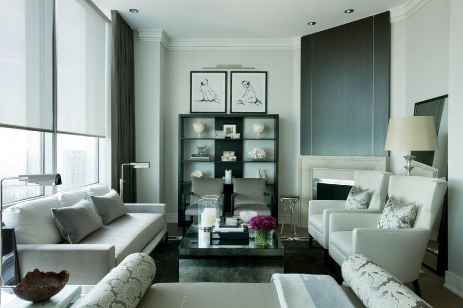 Гостиная, холл в цветах: черный, серый, светло-серый, белый. Гостиная, холл в стилях: арт-деко.