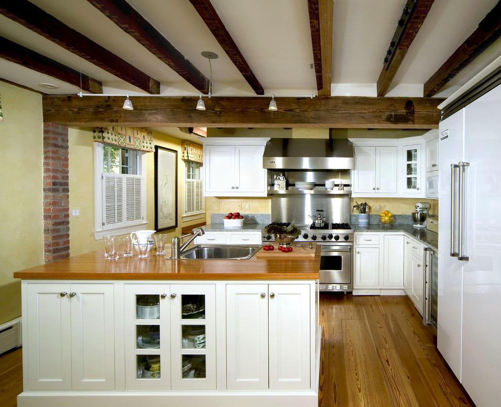 Кухня в цветах: светло-серый, белый, бежевый. Кухня в стилях: экологический стиль.