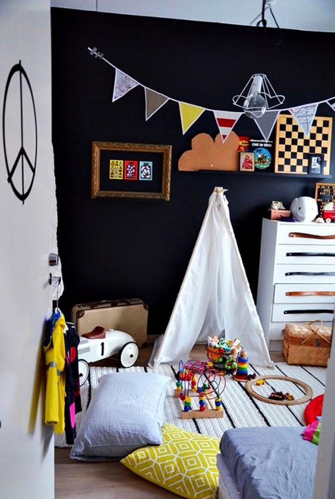 Детская в цветах: черный, серый, белый, коричневый. Детская в стилях: скандинавский стиль.