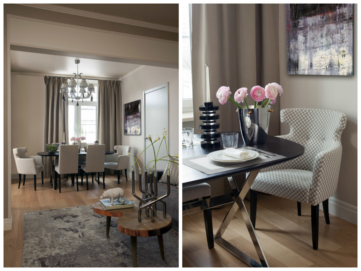 Столовая в цветах: серый, светло-серый, коричневый, бежевый. Столовая в стиле американский стиль.