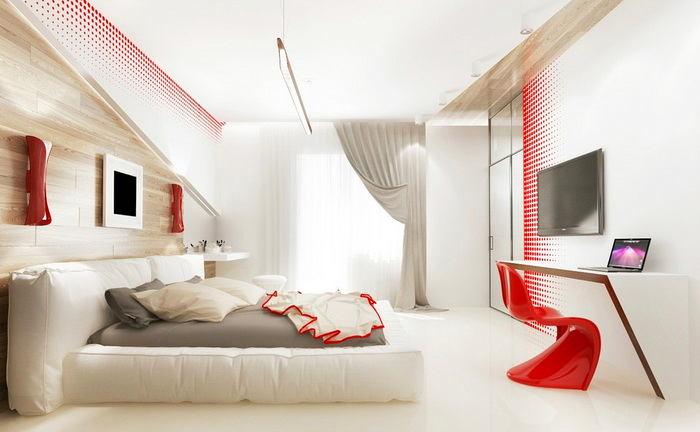 Спальня в цветах: красный, светло-серый, белый, бежевый. Спальня в стиле скандинавский стиль.