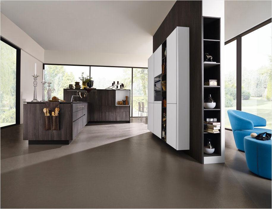 Кухня в цветах: бирюзовый, черный, серый, белый. Кухня в стиле минимализм.