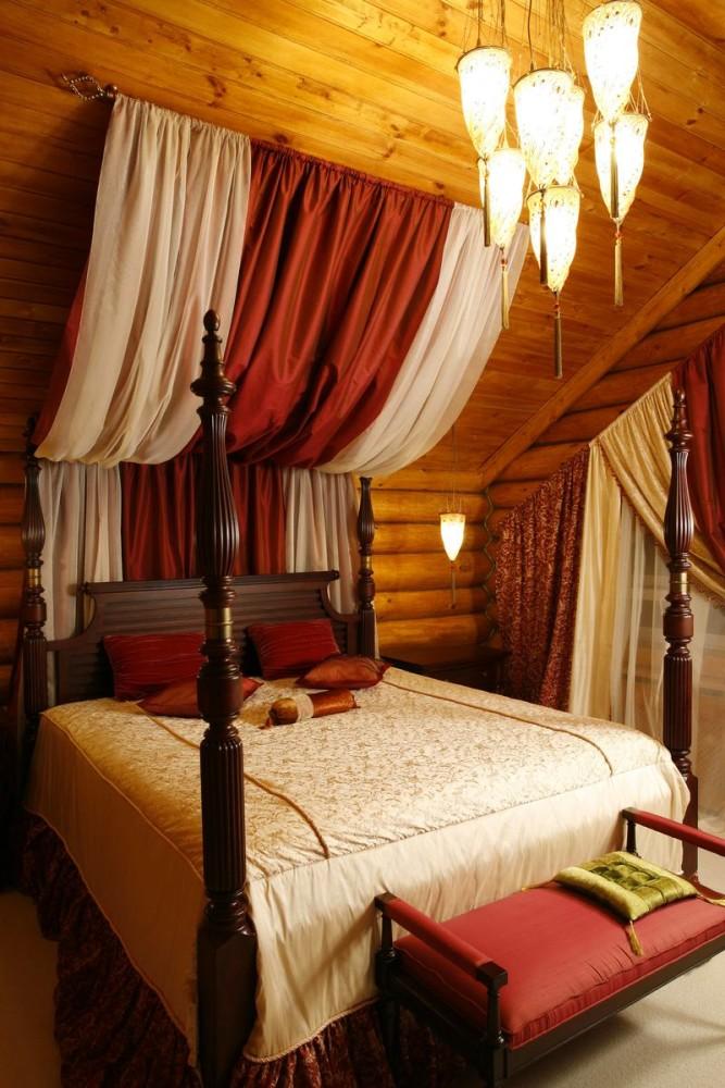 Спальня в цветах: бордовый, темно-коричневый, коричневый, бежевый. Спальня в стиле ближневосточные стили.