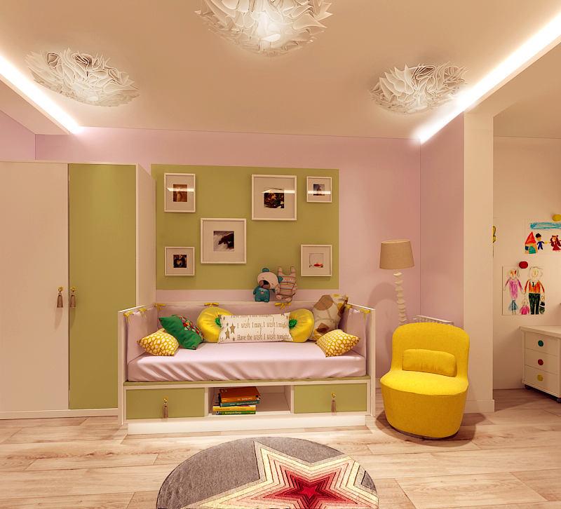 Детская в цветах: желтый, белый, салатовый, бежевый. Детская в стиле минимализм.