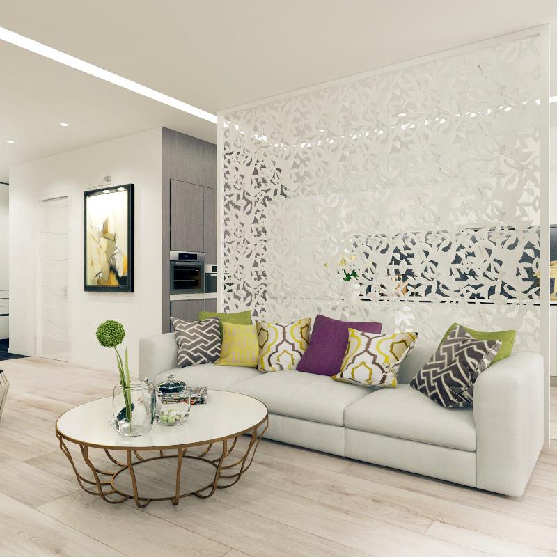 Гостиная, холл в цветах: светло-серый, белый, лимонный, салатовый, сиреневый. Гостиная, холл в стиле минимализм.